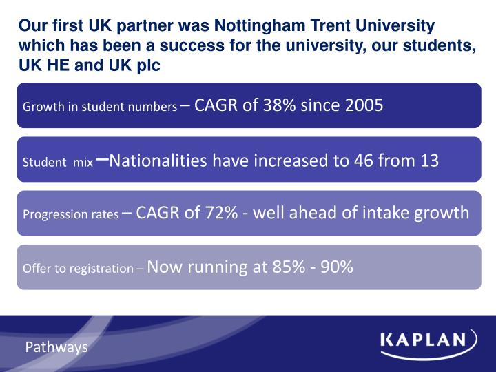 Our first UK partner was Nottingham Trent University which has been a success for the university, our students, UK HE and UK plc