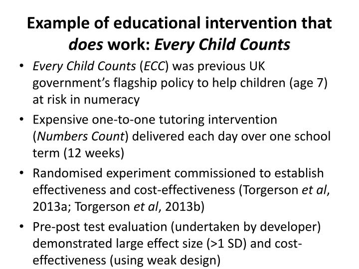 Example of educational intervention that