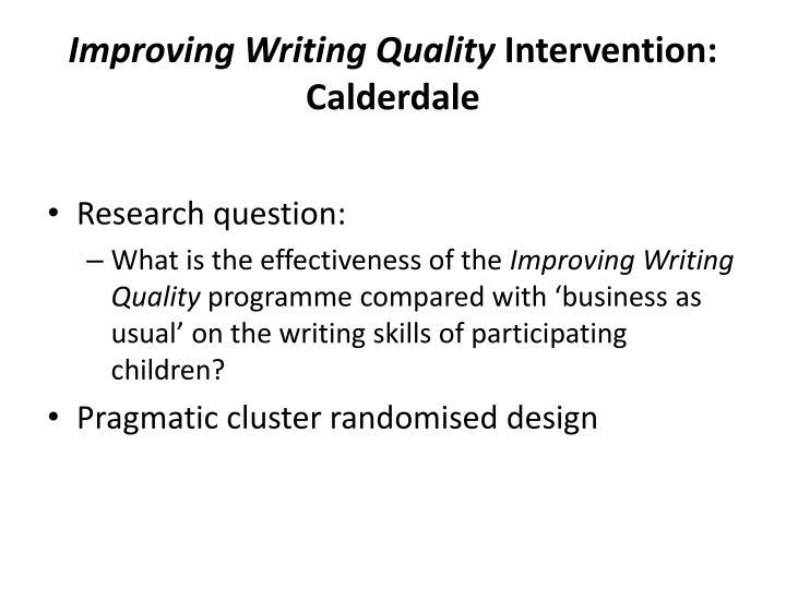 Improving Writing Quality