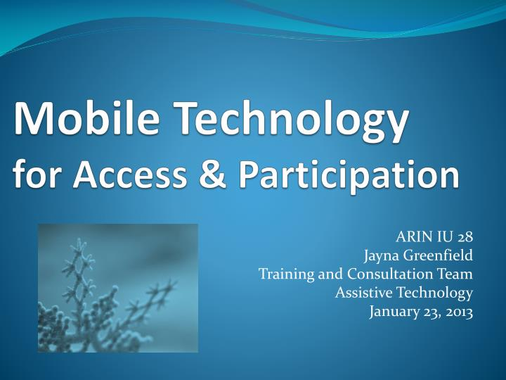 mobile technology for access participation n.