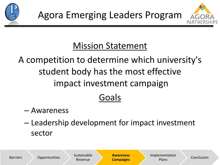 Agora Emerging Leaders Program