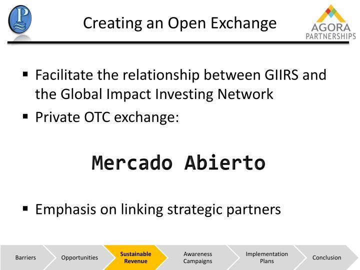 Creating an Open Exchange