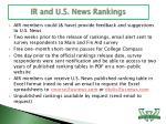 ir and u s news rankings
