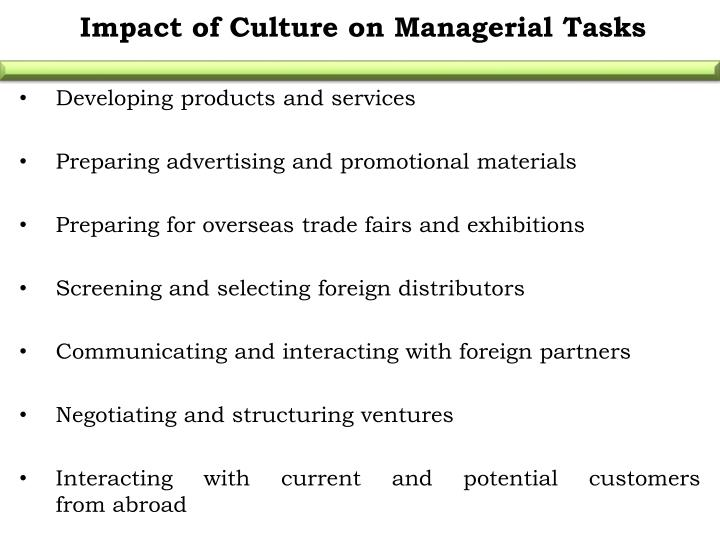 Impact of Culture on Managerial Tasks