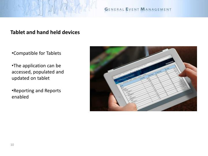Tablet and hand held devices