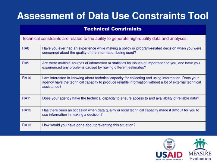 Assessment of Data Use Constraints Tool