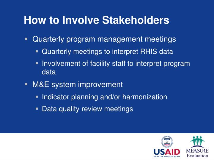 How to Involve Stakeholders