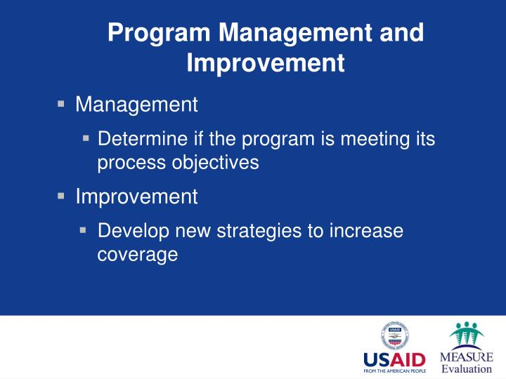 Program Management and Improvement