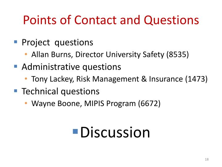 Points of Contact and Questions