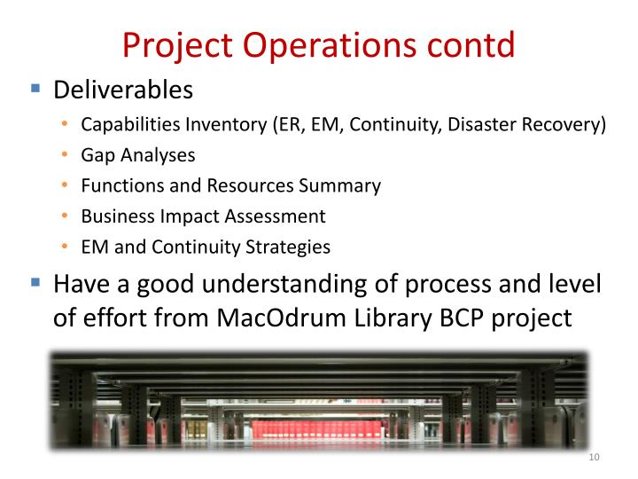 Project Operations contd