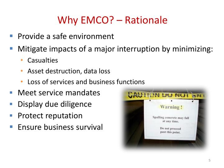 Why EMCO? – Rationale