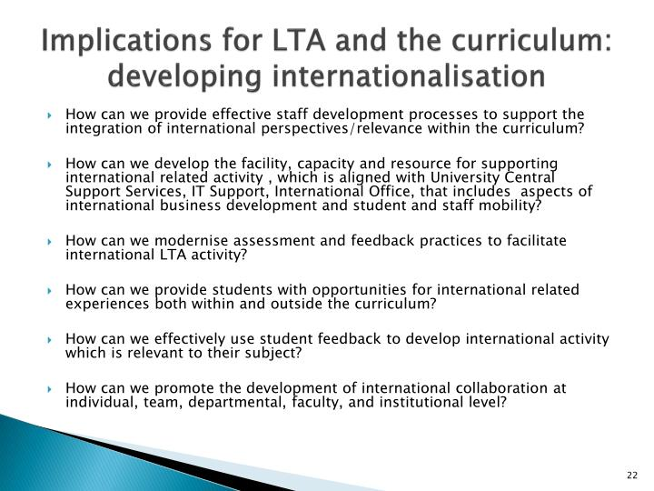 Implications for LTA and the curriculum: developing internationalisation