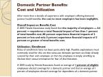 domestic partner benefits cost and utilization