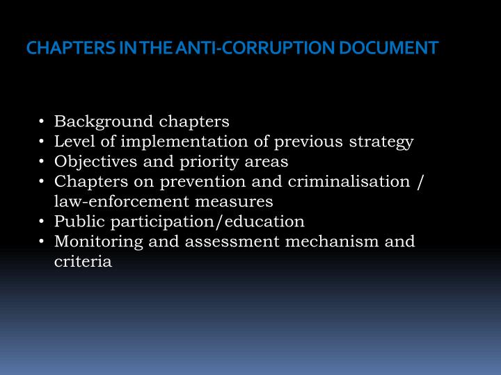CHAPTERS IN THE ANTI-CORRUPTION DOCUMENT