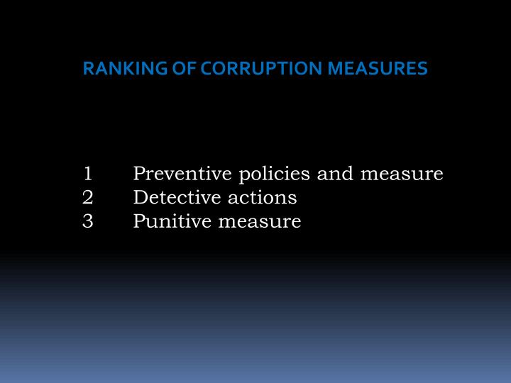RANKING OF CORRUPTION MEASURES