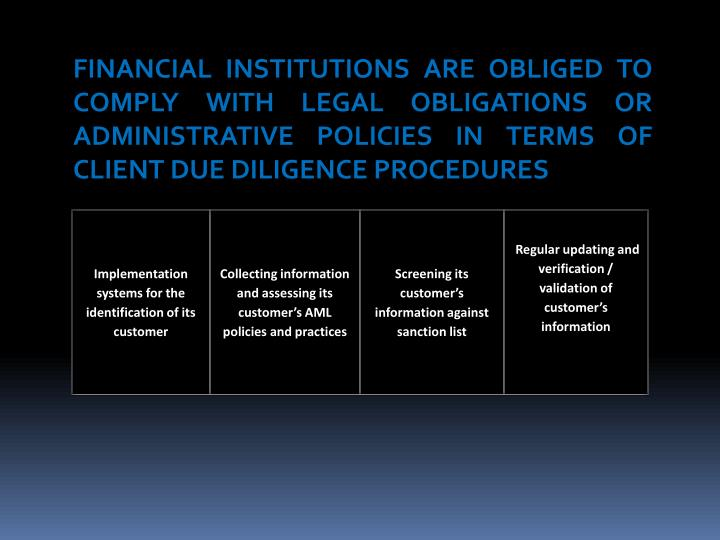 FINANCIAL INSTITUTIONS ARE OBLIGED TO COMPLY WITH LEGAL OBLIGATIONS OR ADMINISTRATIVE POLICIES IN TERMS OF CLIENT DUE DILIGENCE PROCEDURES