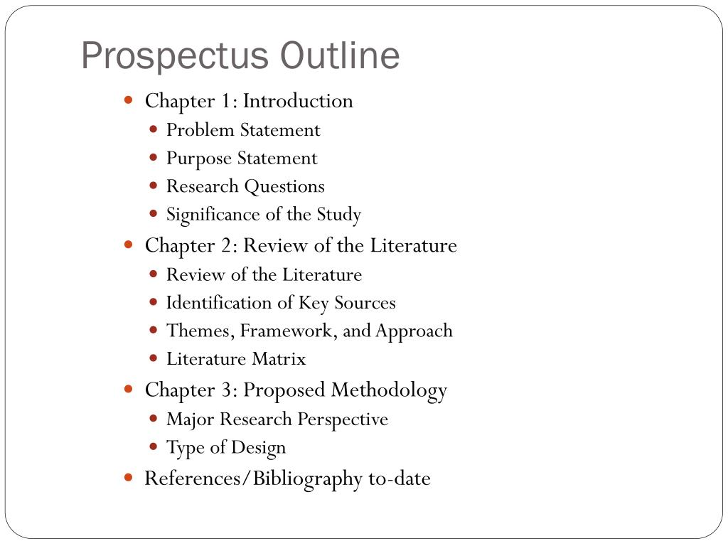 Masters thesis prospectus outline how to