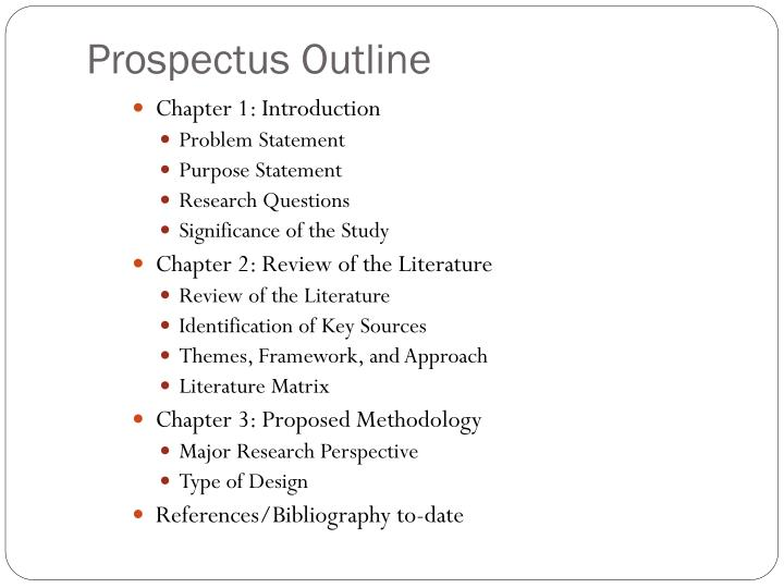 prospectus outline