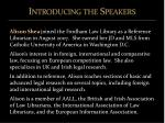 introducing the speakers1
