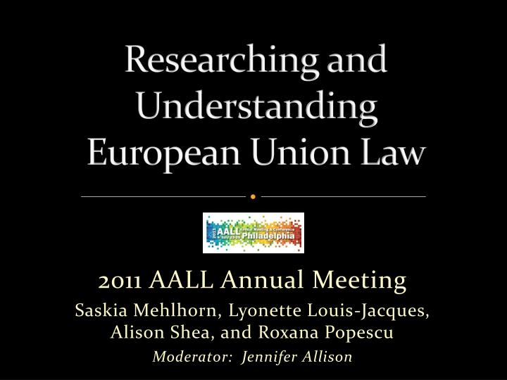 researching and understanding european union law n.