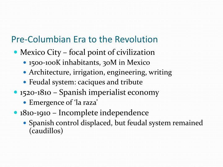 Pre-Columbian Era to the Revolution