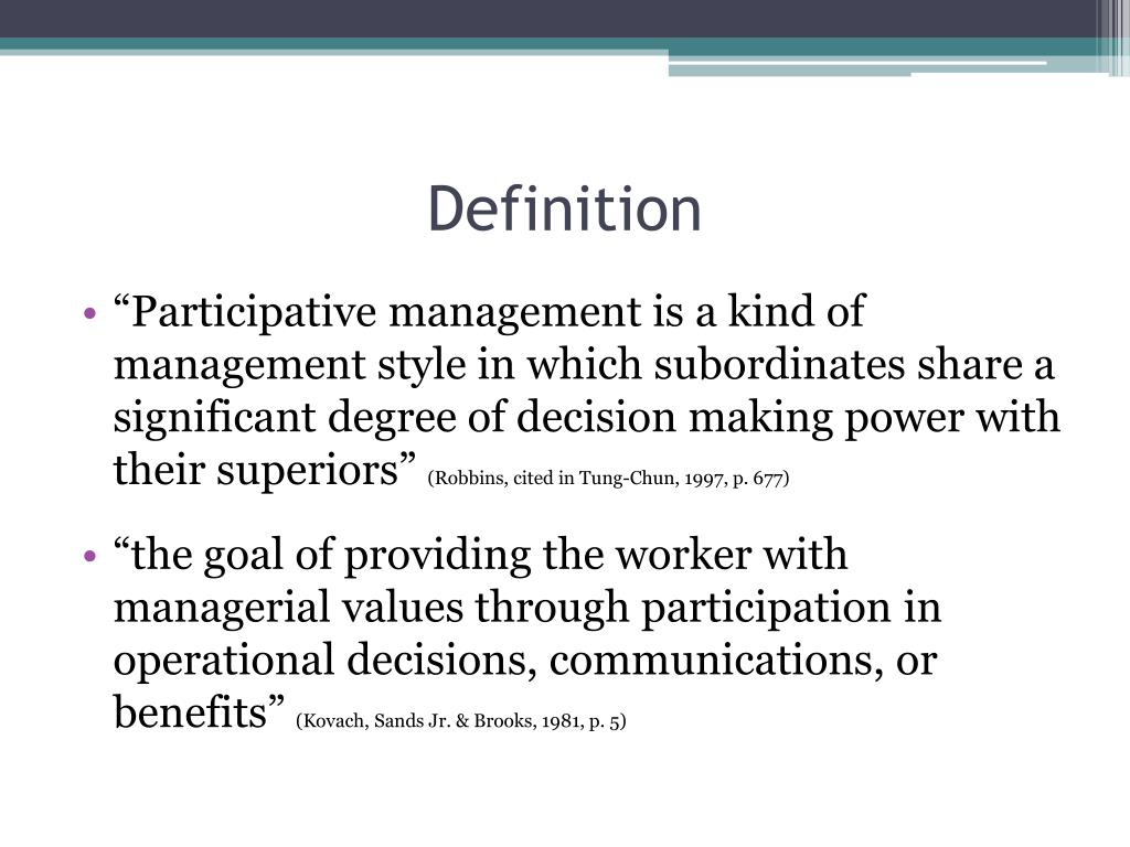Beaches] Definition of participative management style