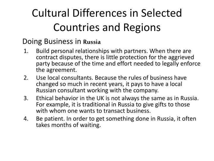 Cultural Differences in Selected