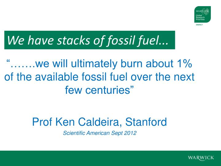 """…….we will ultimately burn about 1% of the available fossil fuel over the next few centuries"""