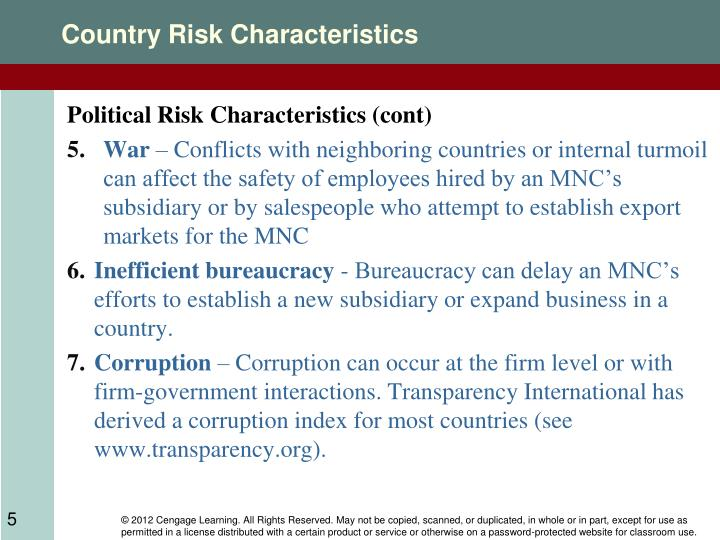 Country Risk Characteristics