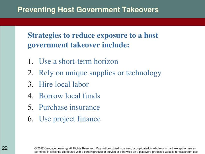Preventing Host Government Takeovers