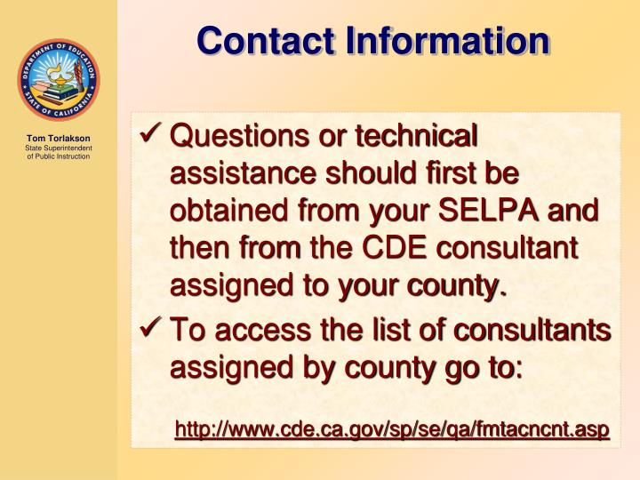 Questions or technical assistance