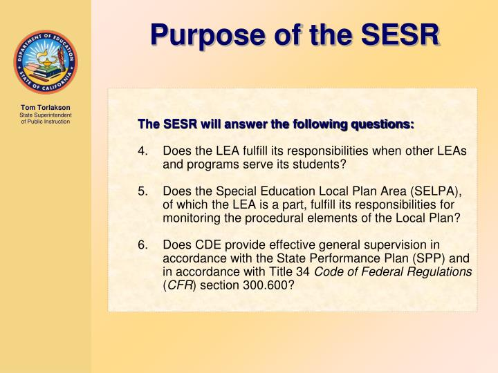 The SESR will answer the following questions: