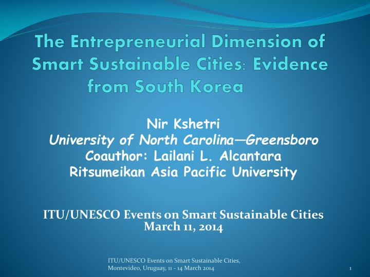 The entrepreneurial dimension of smart sustainable cities evidence from south korea
