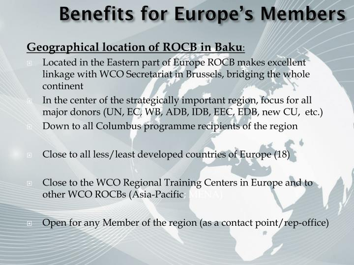 Benefits for Europe's Members