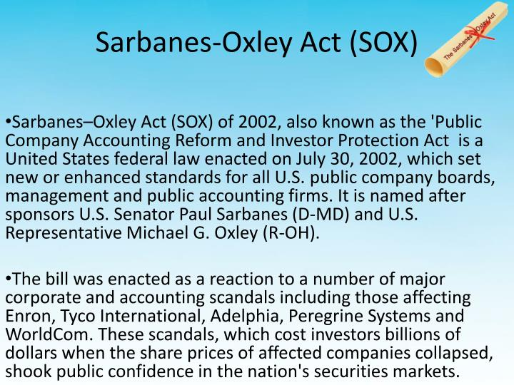 sarbanes oxley act This document sets out the text of the sarbanes-oxley act of 2002 as originally enacted amendments to the act made by the dodd-frank wall street reform and consumer protection act (july 21, 2010), can be found here.