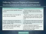differing views on degree of government involvement in job creation and protection