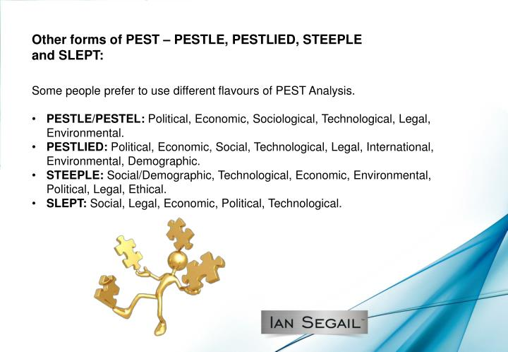 Other forms of PEST – PESTLE, PESTLIED, STEEPLE and SLEPT: