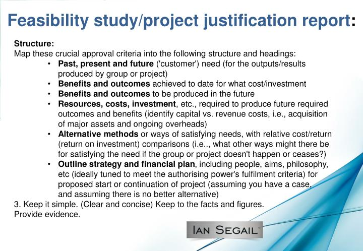 Feasibility study/project justification