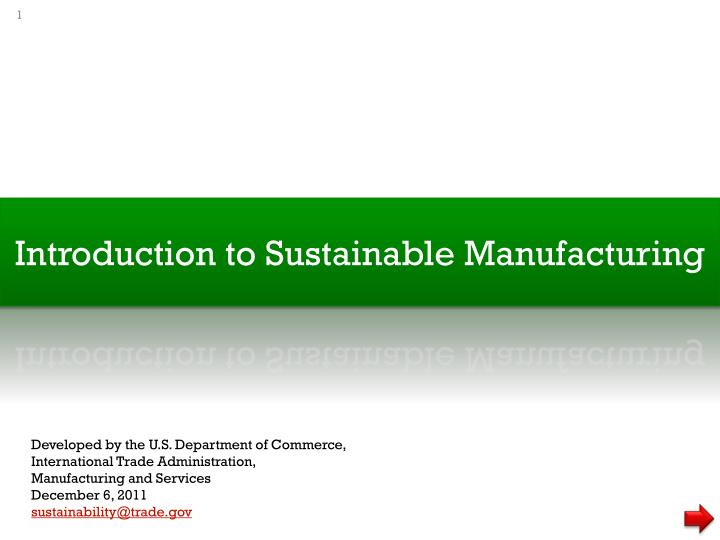 introduction to sustainable manufacturing n.