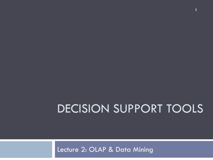 decision support tools n.