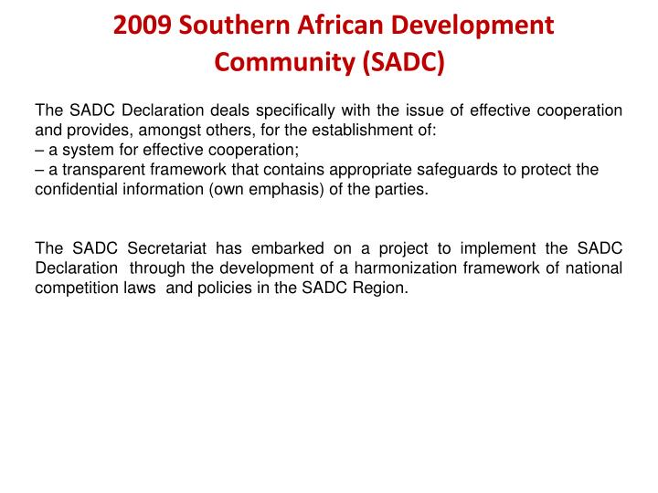 2009 Southern African Development