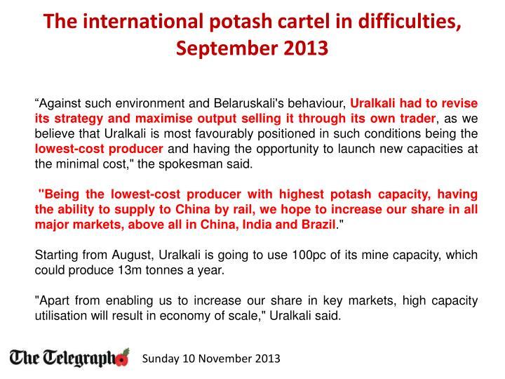 The international potash cartel in difficulties, September 2013