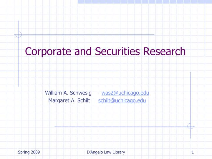 corporate and securities research n.