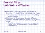 financial filings lexisnexis and westlaw