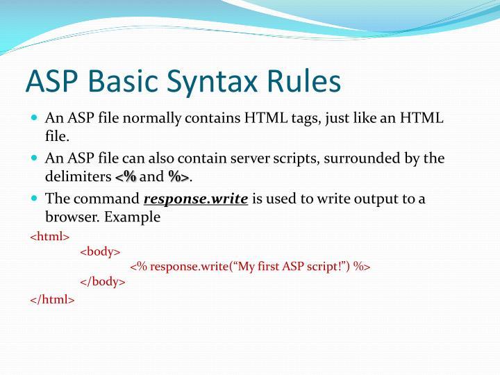 ASPBasic Syntax Rules