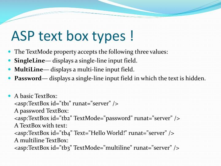 ASP text box types !