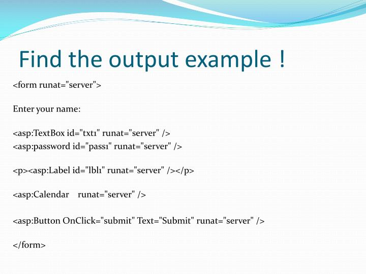 Find the output example !