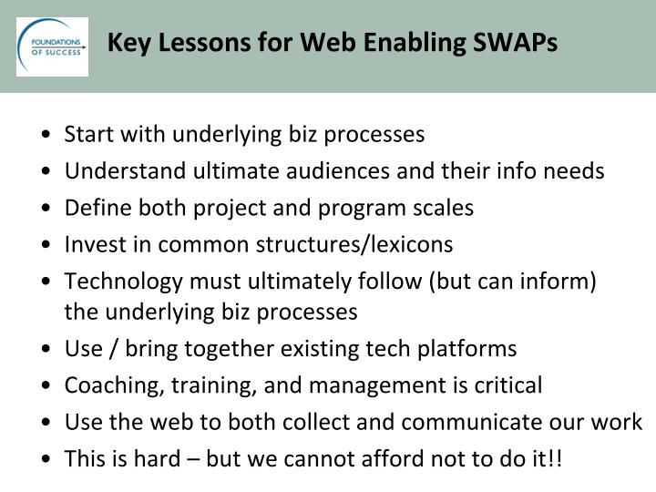 Key Lessons for Web Enabling SWAPs