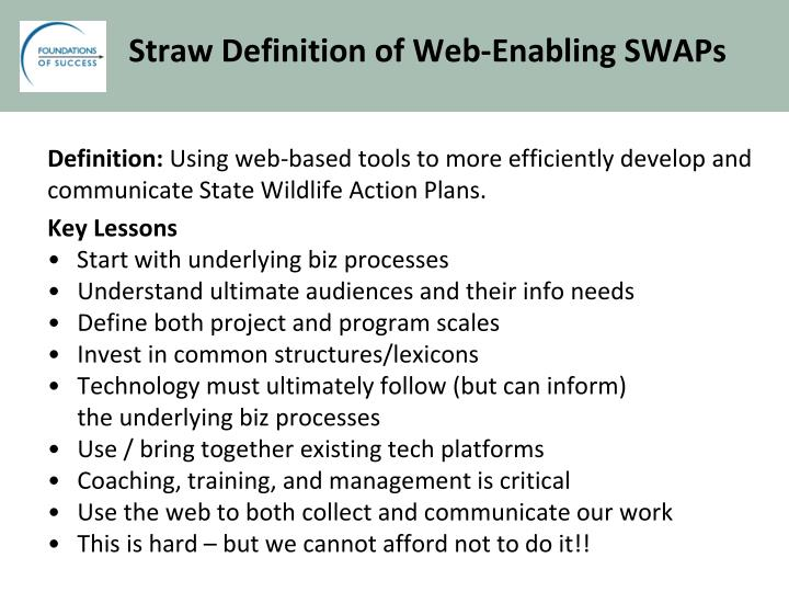 Straw Definition of Web-Enabling SWAPs