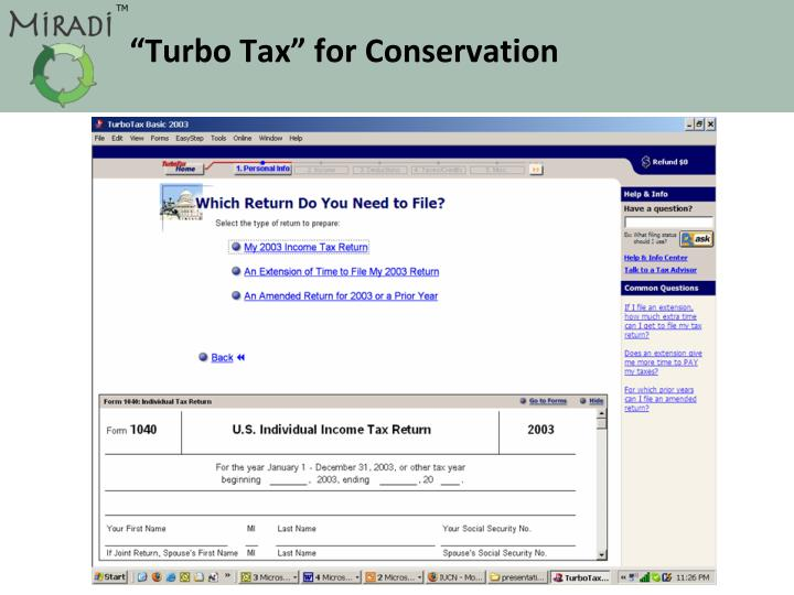 """Turbo Tax"" for Conservation"